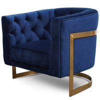 Lorena Armchair in Blue Velvet - Brushed Gold Base