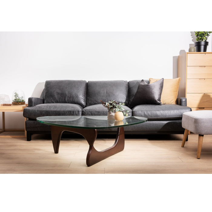 Ex Display - Hensley 3 Seater Sofa - Charcoal Leather