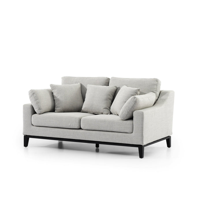 Shari 2 Seater Fabric Sofa - Light Texture Grey with Black Base