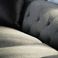 Esther 3 Fabric Seater Sofa - Graphite Grey with Black Base