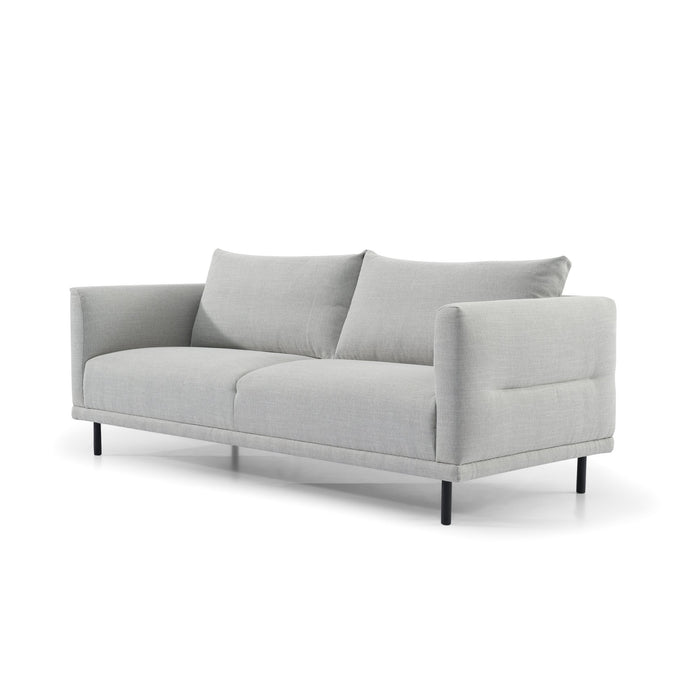 Garner 3 Seater Fabric Sofa - Light Texture Grey with Black Legs