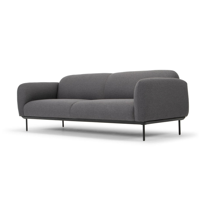 Jenna 3 Seater Fabric Sofa - Antrazite with Black Steel Legs