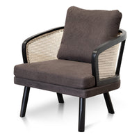 Arline Fabric Armchair - Anchor Grey and Natural Rattan