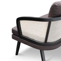 Arline 3 Seater Lounge Chair - Anchor Grey and Natural Rattan