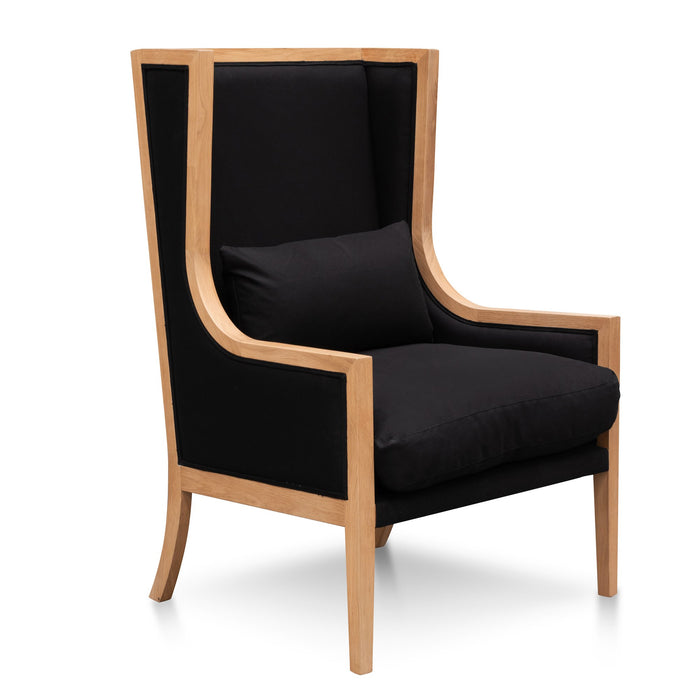 Lowell Wingback Fabric Armchair - Black