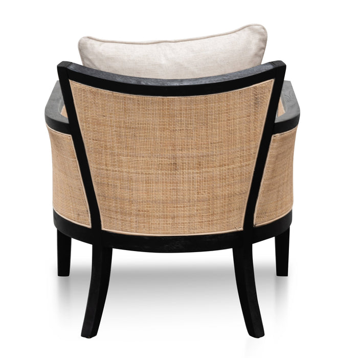 Marion Rattan Armchair - Black with Sand White