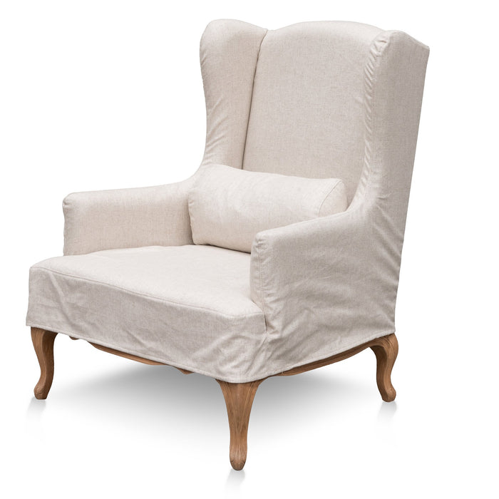 Antonio Wingback Sand White Fabric Armchair - Natural Legs