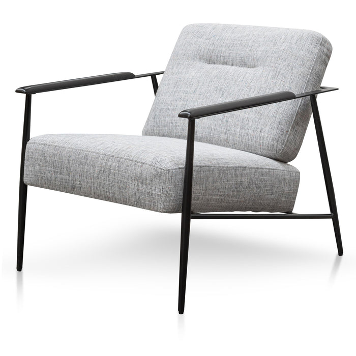 Tammy Fabric Armchair - Light Spec Grey - Black Legs