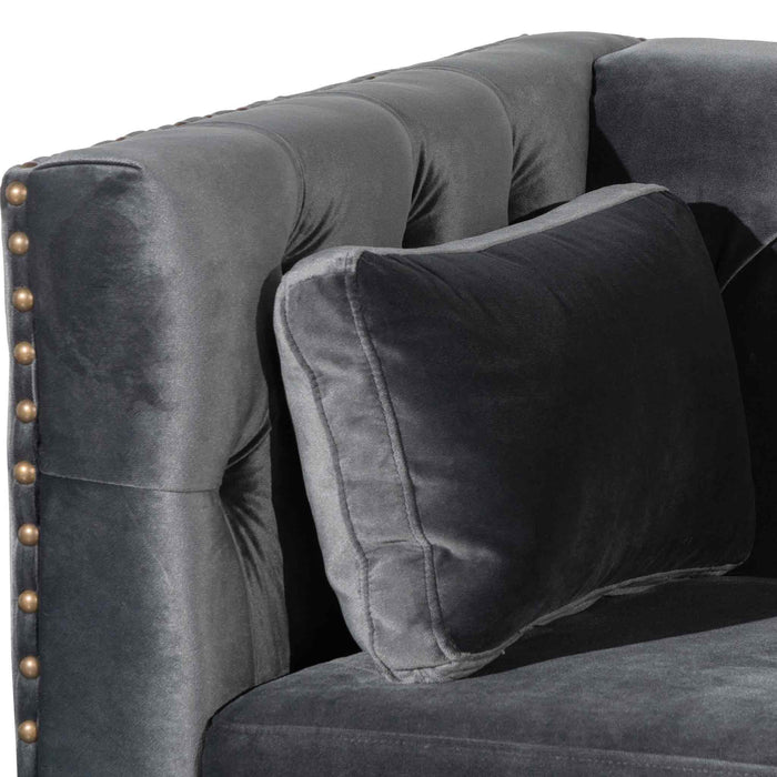 Aurea 4 Seater Sofa - Cosmic Grey velvet