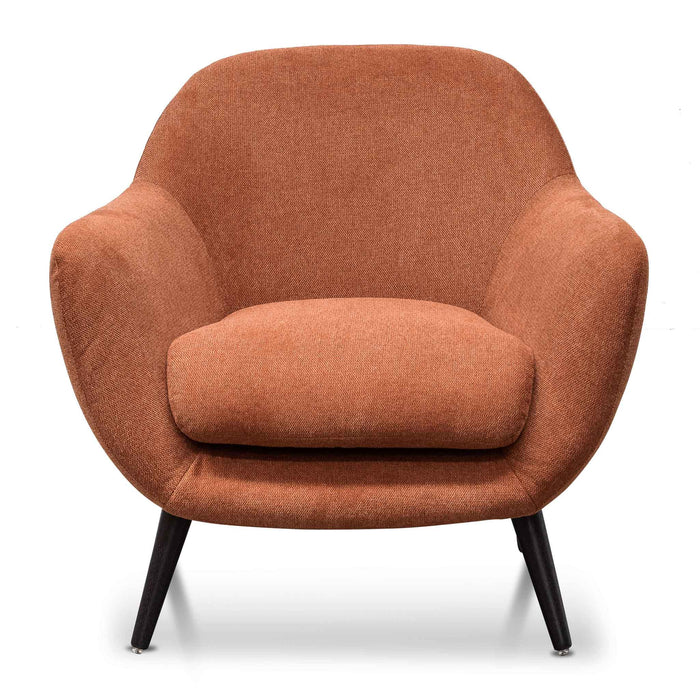 Lorene Fabric Armchair - Burnt Orange with Black Legs
