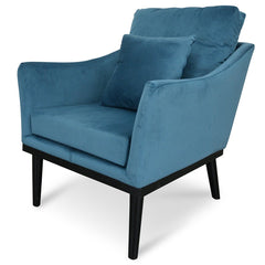 Sonja Occasional Velvet Armchair With Black Legs - Dark Blue