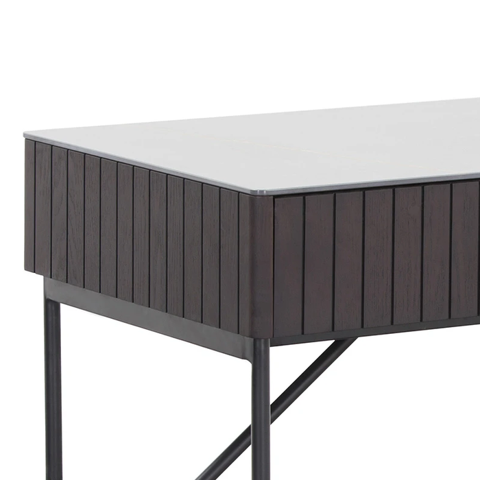 Leeren Ceramic Top Home Office Desk - Smoke Ash