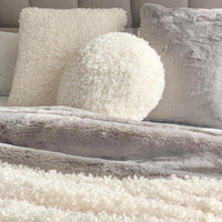 Lyla Faux Sheep Fur Round 45cm Cushion  - Ivory
