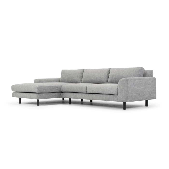 Sonia 3 Seater Left Chaise Fabric Sofa - Dark Grey with Black Legs
