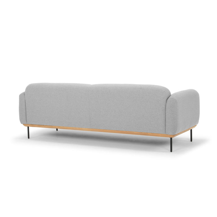Jenna 3 Seater Fabric Sofa - Light Grey with Black Steel Legs