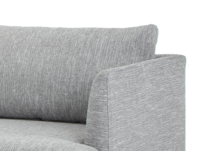 Denmark 3 Seater With Left Chaise Fabric Sofa - Graphite Grey with Natural Legs