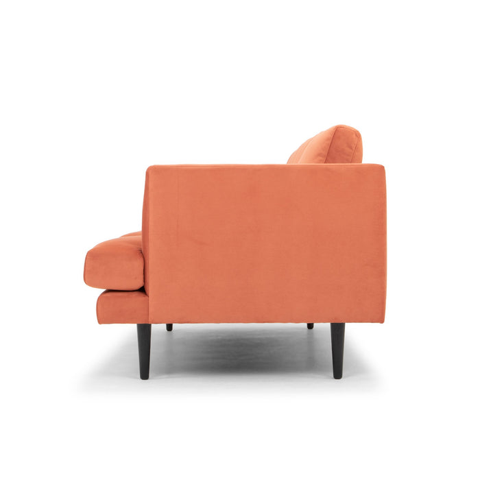Denmark 3 Seater Fabric Sofa - Dusty Orange with Black Legs