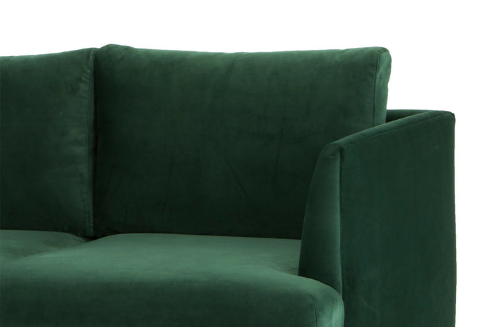 Denmark 3 Seater Sofa - Velvet Green with Black Legs