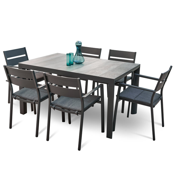 Memphis Carolina 1.4m Ceramic Outdoor Dining Set - Charcoal
