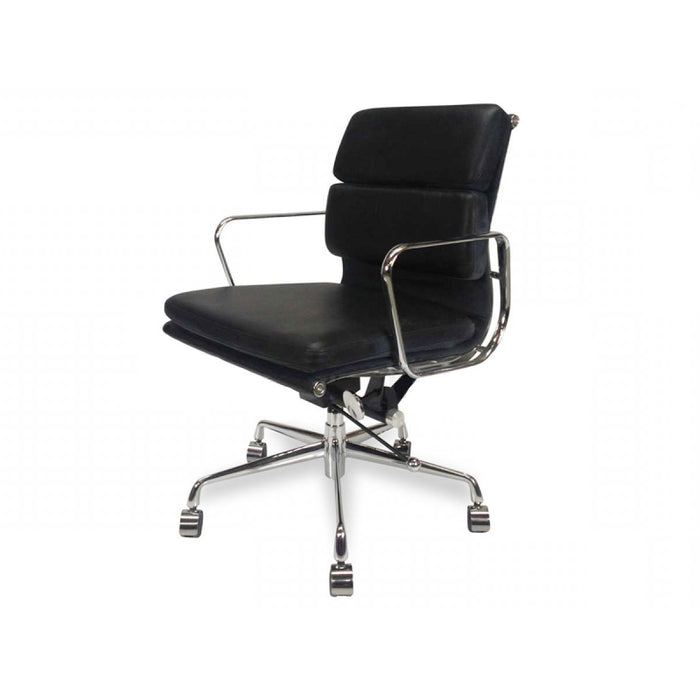Ashton Low Back Office Chair - Black Leather