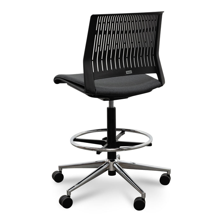 Milas Drafting Chair - Black With Seat Cushion
