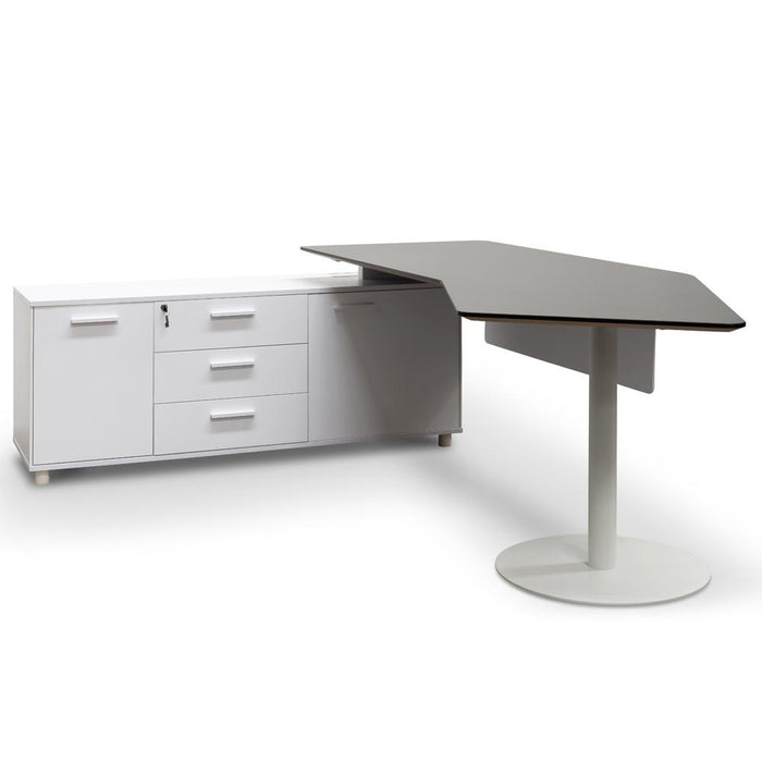 Elite 2.52m Executive Office Desk Left Return - Black