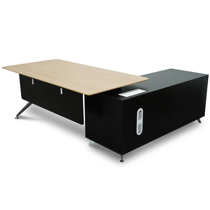 Excel 1.95m Executive Desk Left Return - Black Frame With Natural Top and Drawers
