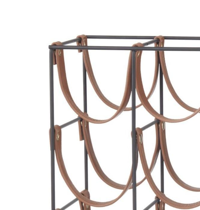 Orell 9 Bottles PU Leather Wine Rack - Tan