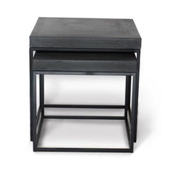 Hamilton Indoor/Outdoor Nest Square Concrete Side Table - Grey