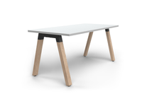 Plantation 1.6m Single Desk Solid Oak Legs - White