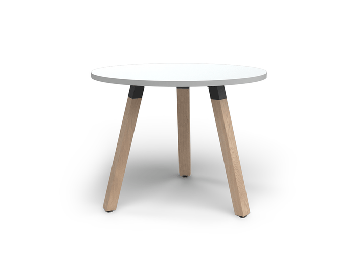 Plantation 90cm Round Meeting Table Solid Oak Legs - White
