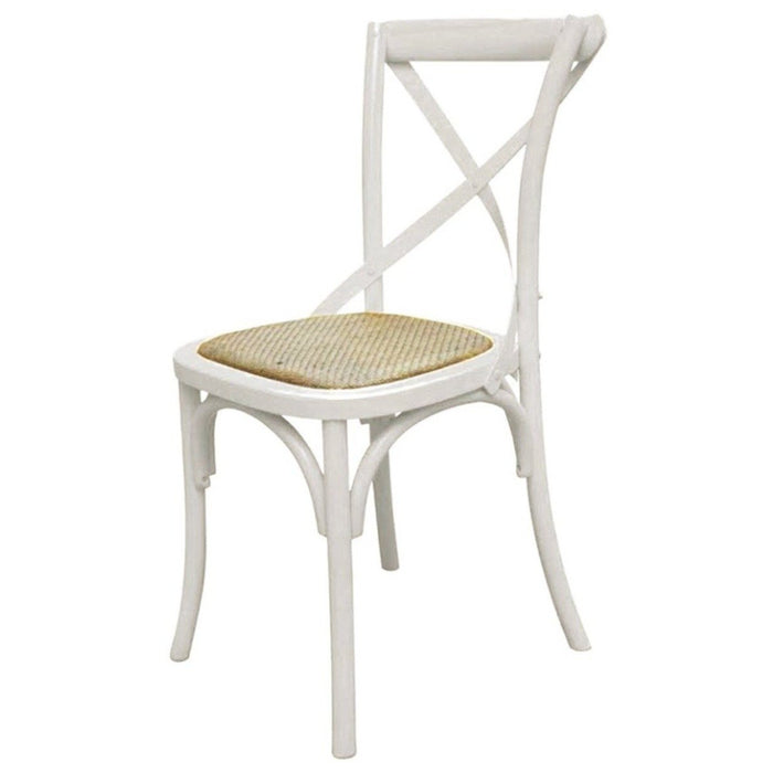 Clearance - Province Cross-Back Solid Oak Dining Chair - White