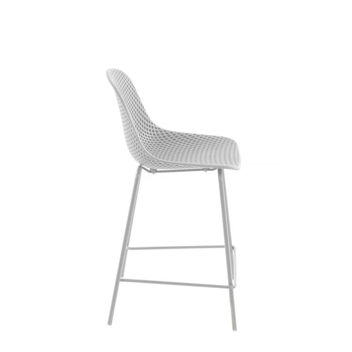 Quinby Outdoor Bar Stool - White