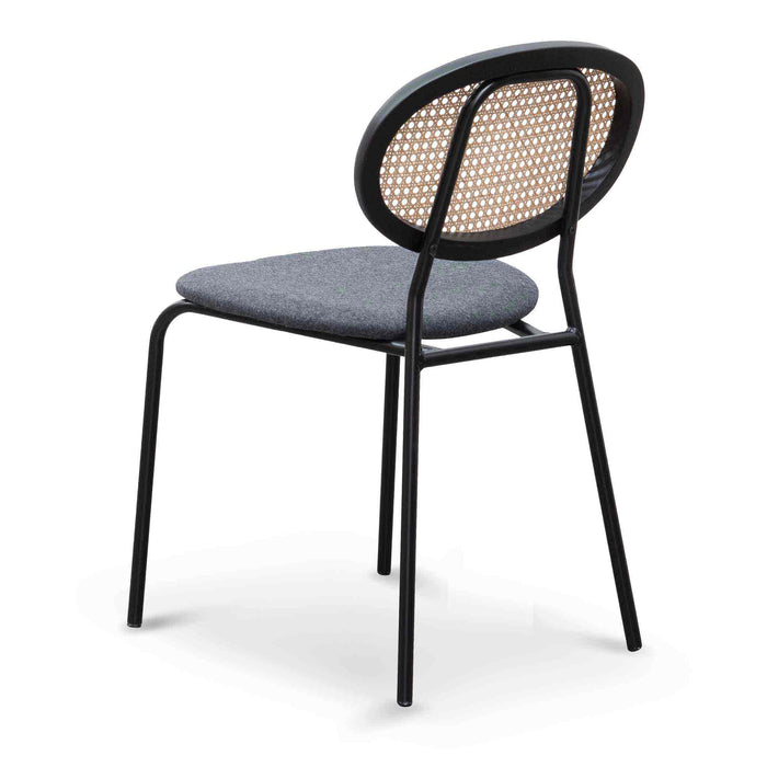 Rojas Grey Fabric Dining Chair - Black