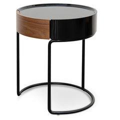 Marcos Scandinavian Side Table - Walnut - Black