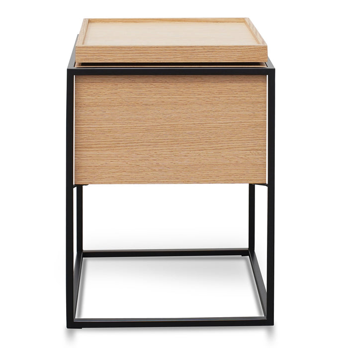Cane Scandinavian Oak Side Table - Black Frame