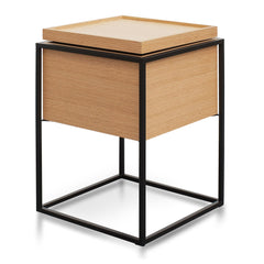 Cane Scandinavian Side Table In Oak - Black Frame