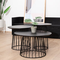 Carmella Round Side Table Set - Black Oak