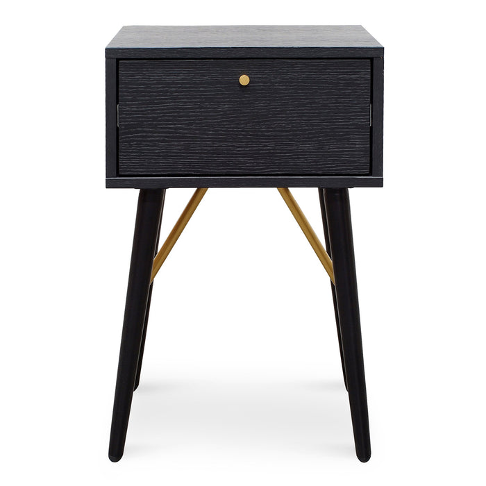 Trent Wooden Bed Side Table - Black