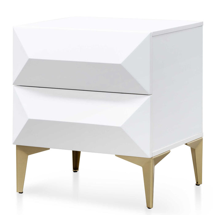 Olson Wooden Side Table - White with Gold Legs