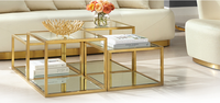 Set of 4 - Oxford 100cm Glass Coffee Table - Brushed Gold Base