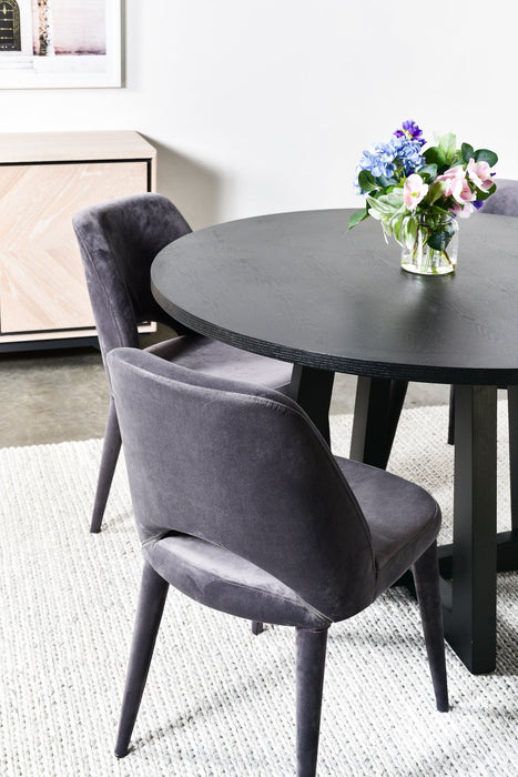 Zodiac 1.5m Round Wooden Dining Table - Black