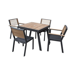 St Lucia 5 Piece Outdoor Dining Set - Charcoal