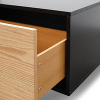 Letty 2.3m Wooden Entertainment Unit - Black with Natural Drawers