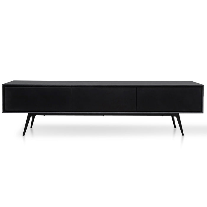 Liam Wooden TV Unit With Black Matte Drawers - Black