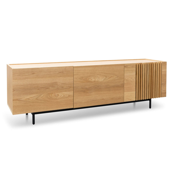 Onito 180cm Wooden TV Entertainment Unit - Natural with Black Legs