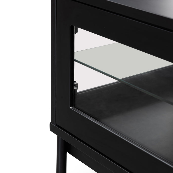 Holmes 1.8m Entertainment TV Unit - Black with Glass Door