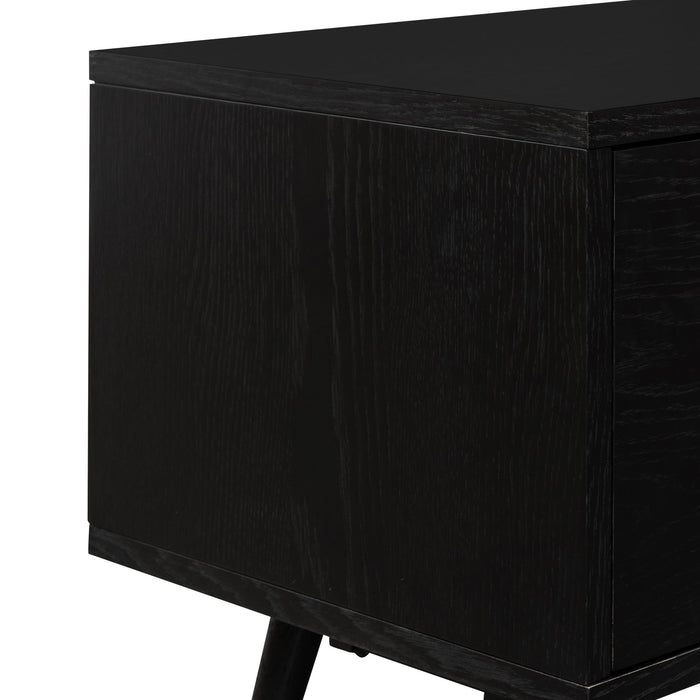 Tasha 1.6m Black Wooden TV Entertainment Unit - Brass Legs