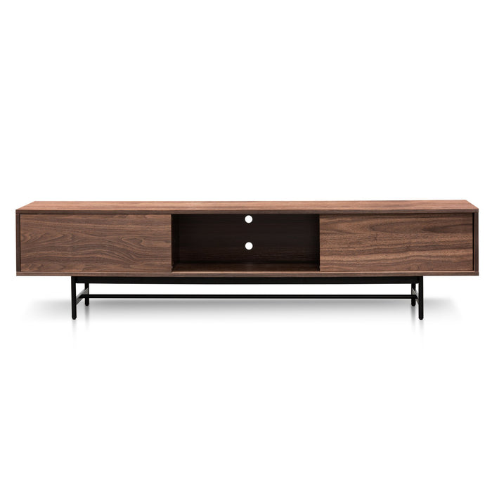 Christie 2.1m Walnut Wooden TV Entertainment Unit - Black legs