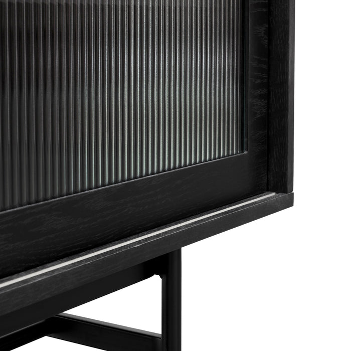 Sergio 2.1m Wooden TV Entertainment Unit - Full Black with Flute Glass Door